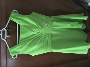 Formal or casual brand-new lime green dress with silver wrap