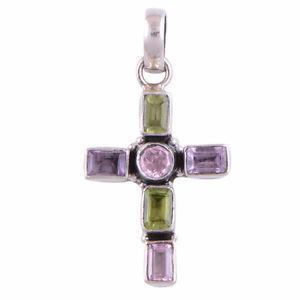 Genuine, Peridot, Amethyst, Zirocn Sterling Cross Pendant