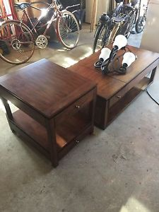 Matching walnut coffee table and side table