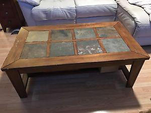 Solid wood coffee table with inlaid slate top