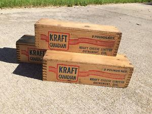 VINTAGE KRAFT 2 LB WOODEN CHEESE BOXES ($5 each)