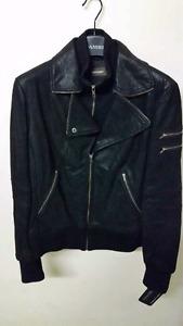 Brand new never worn women's black leather jacket
