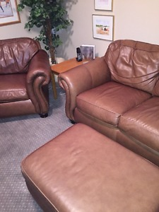 Leather Chair/Couch and Ottoman