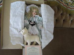 Little Bo Beep Porcelain Doll and her sheep