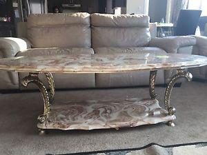 Marble coffee table with two end tables.