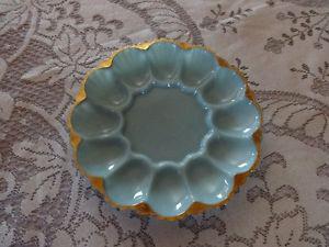 Vintage Fire King Delphite Blue Deviled Egg Plate With Gold