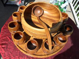 Wooden Tiki Punch Bowl Set, Hand-Carved w/ 12 Cups, Ladle on