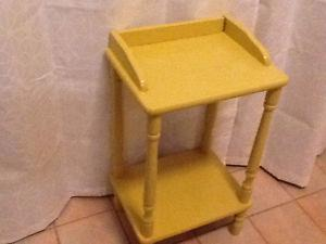 Yellow small side table with shelf
