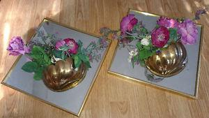 2 Diamond mirrored floral decor