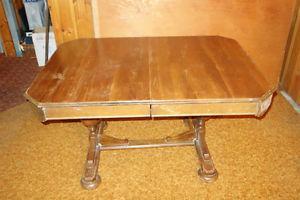Antique Dining Room Walnut Oak Table