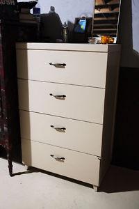 Dresser, Wood, Cream w/ Silver-Metal Handles
