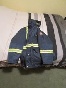 Helly Hansen Hi-Viz winter work jacket with hood.