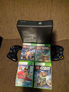 Xbox 360 with 4 games and 2 Controllers