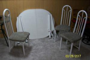 3 chairs and table with leaf