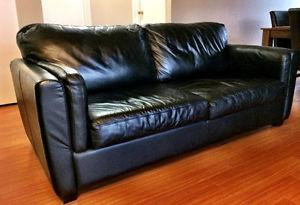 Black REAL LEATHER Sofa (soft, cozy feel)