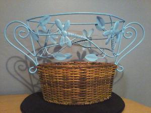 DRAGONFLY WROUGHT IRON & WICKER BASKET