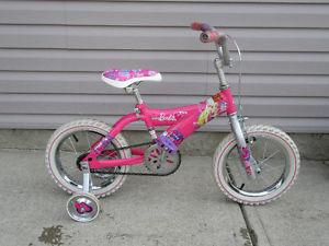 "Girls Barbie Bike - 14"" wheels+ training wheels"