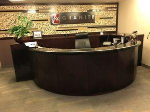 Granite Top/Cherry Wood Reception Desk