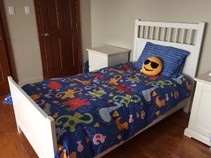 Ikea Single Bed Frame, Box, Mattress & Mattress Cover