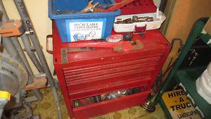Large Old Metal Tool Box on wheels Full of tools