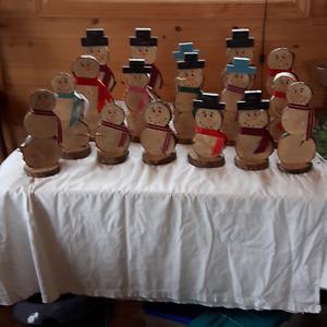 Lot of 17 Handmade Solid wood Snowmen