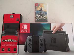 Nintendo Switch + Zelda and Case