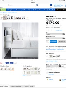 Queen bed frame with storage & headboard