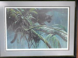 Robert Bateman print of a black panther (ltd edition, )