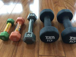 Set of lower weight dumbells - 2, 3, 5 and 10 lbs; like new
