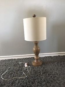 Table lamp - wood base with white lamp shade