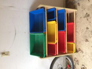 Toy storage rack and bins for sale