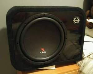"""12"""" Focal Sub and 5 channel amp combo."""