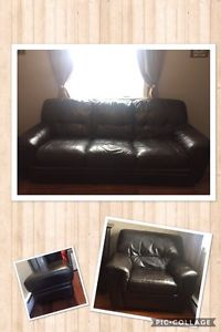 **Brown Leather Sofa and Chair FOR SALE**
