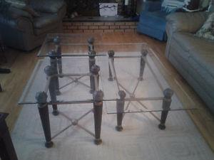 Glass top coffee & end tables