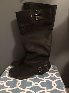 Tall black wide calf boots $15