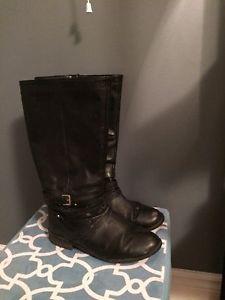 Tall black wide calf flat boots size 9.5