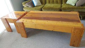 Wooden coffee table and side table