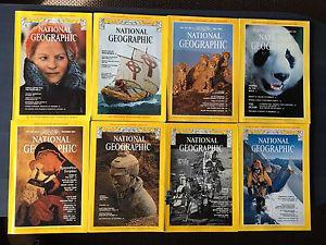 8 Vintage s-80s National Geogaphic Magazines