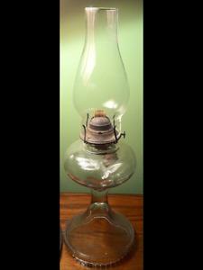 Antique crock, marine lamp & vintage  oil lamp