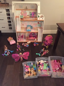 Barbie house with furniture, dolls & accessories