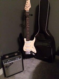 Fender Mini Squier Electric Guitar with Amp, Stand and Case