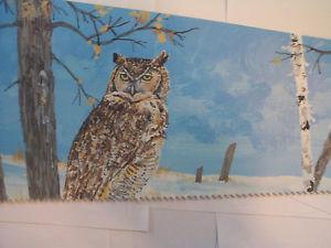 Handpainted OLD SAW (with A Great Horned Owl on it)