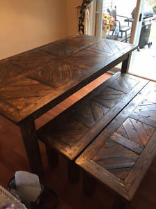 Solid Wood Geometric Dining Table Set