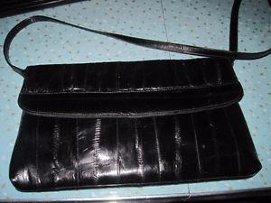 Vintage Eel Skin Clutch Purse with Removable Strap