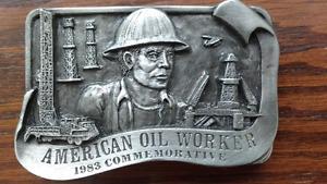 "Vintage ""Oil Worker"" Belt Buckle - Limited Edition, Mint"