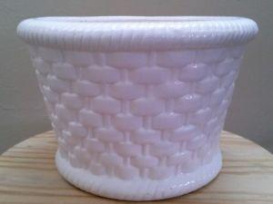 White Ceramic Planter Basket Weave Pattern