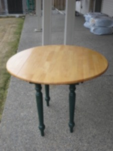 3 1/2 Foot Round Solid Maple Table With Fold Down Sides