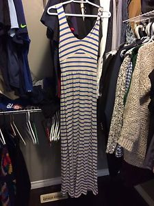 Anthropologie Blue and grey striped maxi dress