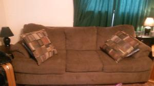Brown Leon's Couch with queen size hideabed