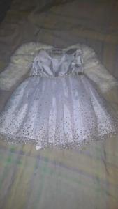 Fancy white dress with fur coat